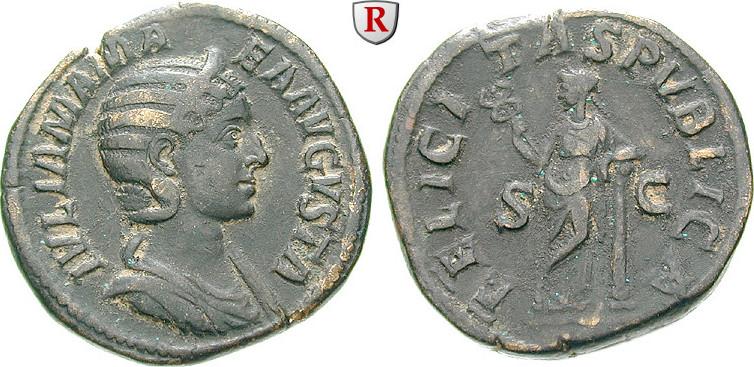 Sesterz 228 Julia Mamaea, Mutter des Severus Alexander, +235 ss