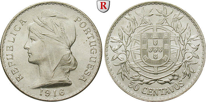 50 Centavos 1916 Portugal Republik, seit 1910 st, Prachtexemplar