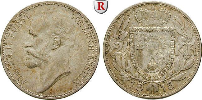 2 Kronen 1915 Liechtenstein Johann II., 1858-1929 vz, fleckige Patina