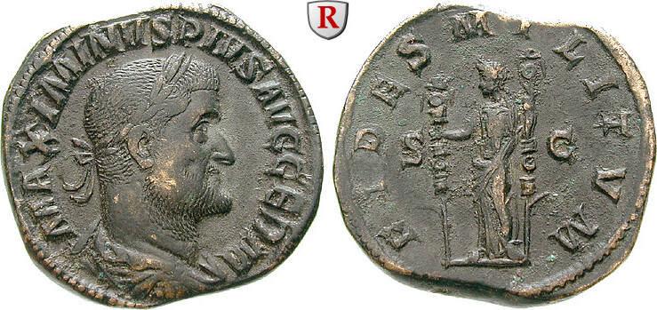 Sesterz 235-236 Maximinus I., 235-238 vz, schöne dunkle Patina