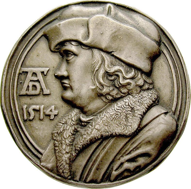Zinnmedaille, versilbert 1514 Personenmedaillen Dürer, Albrecht - Deutscher Künstler, 1471-1528 vz, moderner Guß
