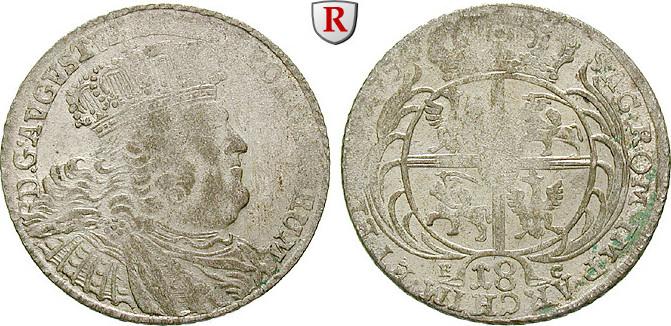 18 Gröscher 1754 Sachsen Albertinische Linie, Friedrich August II., 1733-1763 ss-vz, Prägeschwäche