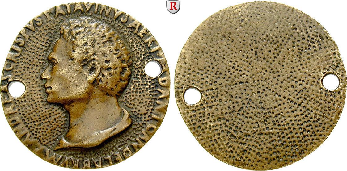 Einseitige Bronzemedaille Personenmedaillen Briosco, Andrea - Italienischer Bildhauer, 1471-1532 ss, Später Guß, beidseitig des Portraits gelocht