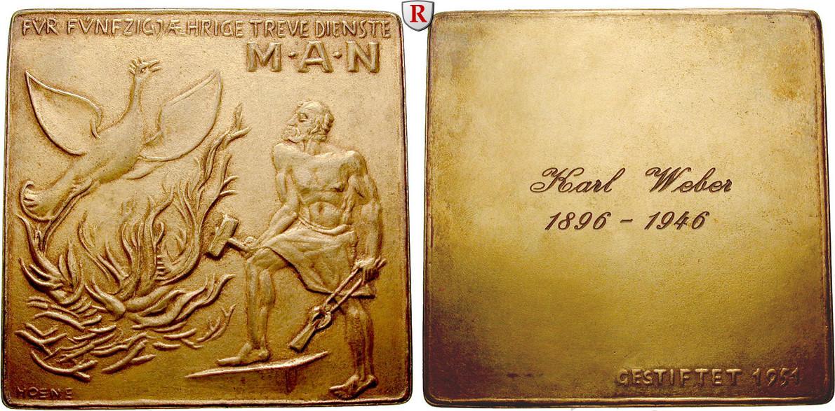 Vergoldete Bronzeplakette o.J. (1951) Gewerbe, Handel, Industrie Industrie st, im Originaletui