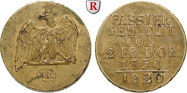 Passiergewicht für 2 Friedrich d`or 1820 Brandenburg-Preussen Königreich Preussen, Friedrich Wilhelm III., 1797-1840 f.vz