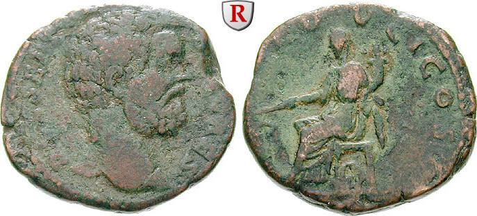 Sesterz 194-195 Clodius Albinus, Caesar, 193-195 f.ss, grün-braune Patina