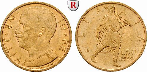 50 Lire 1932 Italien Königreich, Vittorio Emanuele III., 1900-1946, Gold, 4,3995 g bfr.