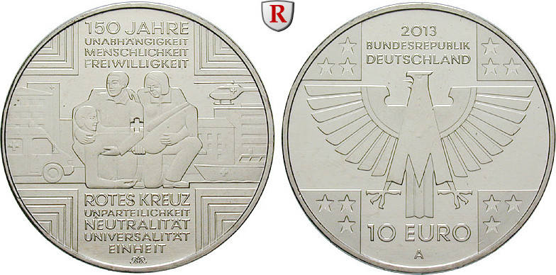 10 Euro 2013 A Gedenkprägungen 10 Euro 2013, A, Cu-Ni. 150 Jahre Rotes Kreuz. bfr.