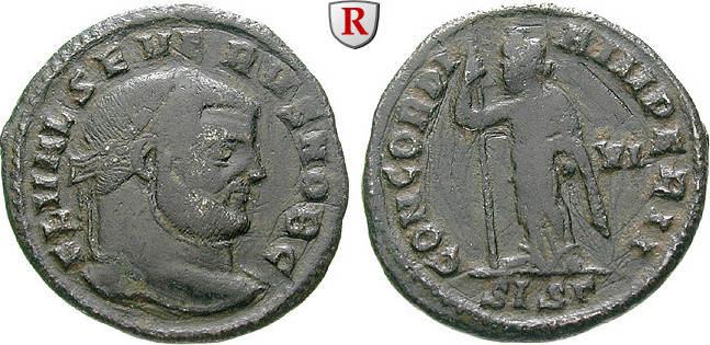Follis 305-307 Severus II., Caesar, 305-306 ss, Kratzer auf Rs.