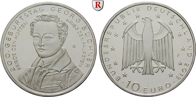 10 Euro 2013 F Gedenkprägungen 10 Euro 2013, F, Cu-Ni. Büchner. bfr.