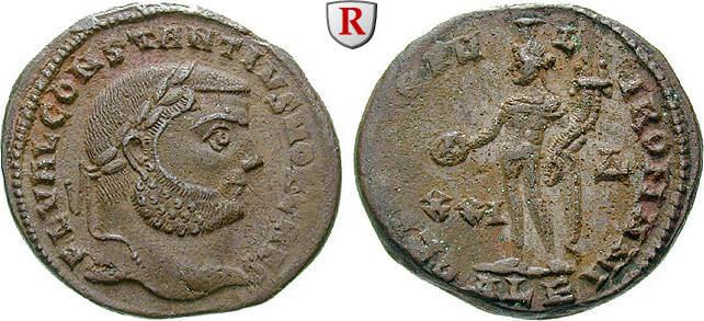 Follis 300 Constantius I., Caesar, 293-305 vz, Verkrustungen