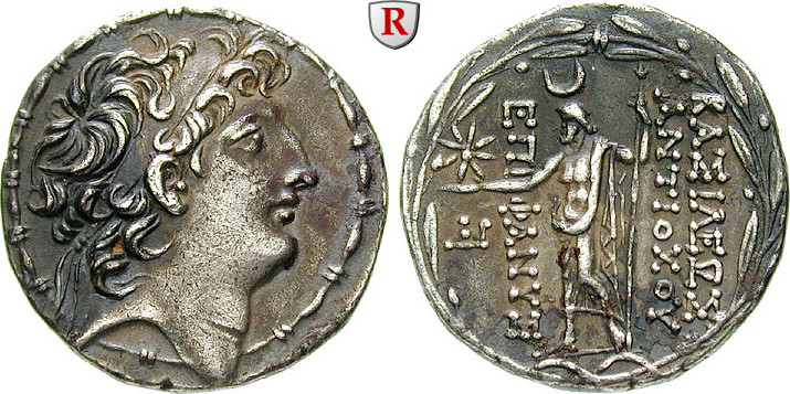 Tetradrachme 121-113 v.Chr. Syrien Königreich der Seleukiden, Antiochos VIII., 121-96 v.Chr. ss-vz, fleckig