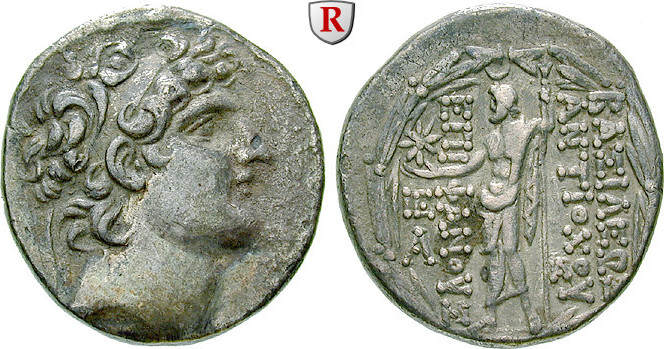 Tetradrachme Syrien Königreich der Seleukiden, Antiochos VIII., 121-96 v.Chr. ss, Rs. leicht dezentriert