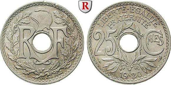 25 Centimes 1920 Frankreich III. Republik, 1871-1940 f.st