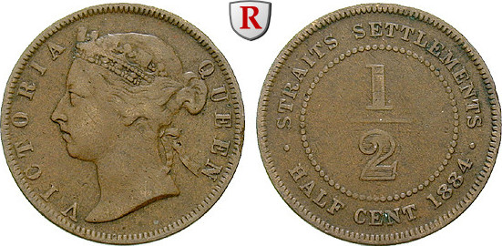 1/2 Cent 1884 Straits Settlements Victoria, 1837-1901 ss, Rdf.