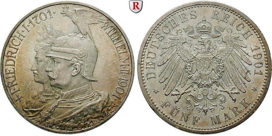5 Mark 1901 A Preussen Wilhelm II., 1888-1918, 5 Mark 1901, A. 200 Jahre Königreich. J.106. vz / vz-st, kl. Kratzer auf Vs.