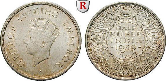 1/2 Rupee 1939 Indien Britisch-Indien, George VI., 1936-1947 vz / vz-st