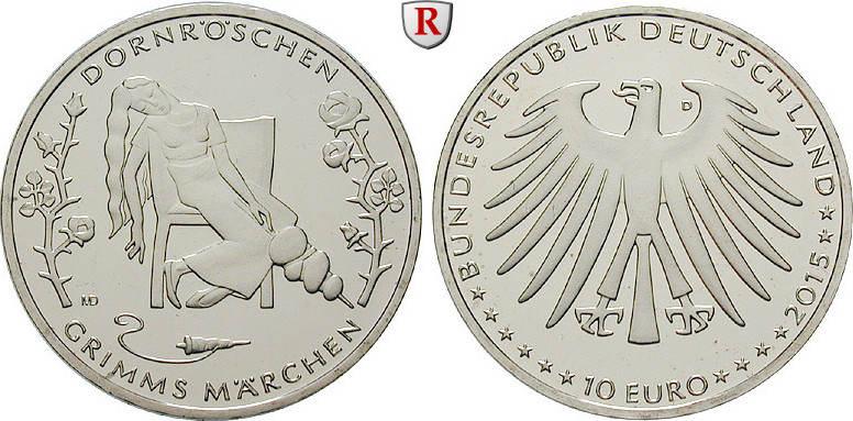 10 Euro 2015 D Gedenkprägungen 10 Euro 2015, D, Cu-Ni. Grimms Märchen Dornröschen. bfr.