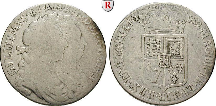 Halfcrown 1689 Grossbritannien William und Mary, 1689-1694 s-ss
