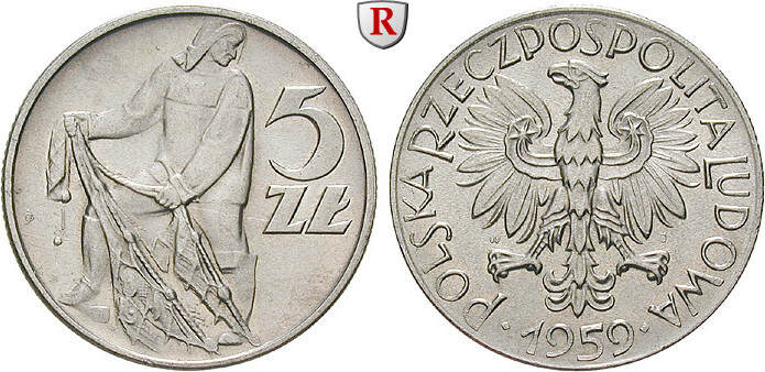 5 Zlotych 1959 Polen Volksrepublik, 1952-1989 vz-st