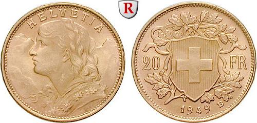 20 Franken 1897-1949 Schweiz Eidgenossenschaft, Gold, 6,4516 g vz-st, Tagespreis