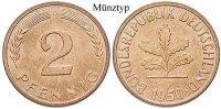 Klein- und Kursmünzen 2 Pfennig 2 Pfennig 1968, G, Cu. J.381.