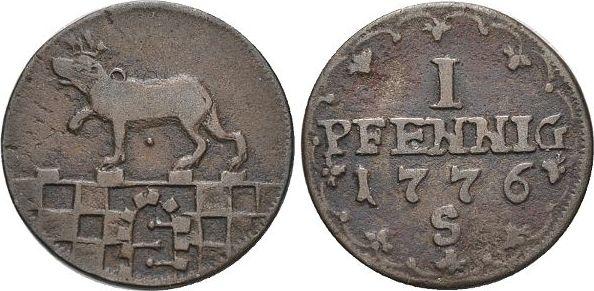 CU-1 Pfennig 1776 S Anhalt-Bernburg Friedrich Albrecht 1765-1796. sehr schön