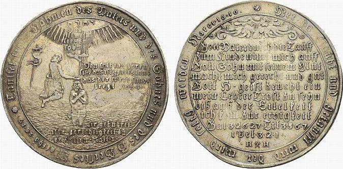 Tauftaler 1718 HH Harz Heinrich Horst, Münzmeister in Zellerfeld 1711-1719. Schöne Patina, vorzüglich