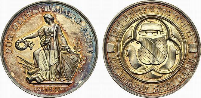 AR-Medaille 1896 Baden-Baden - Baden, Stadt Schöne Patina, fast Stempelglanz
