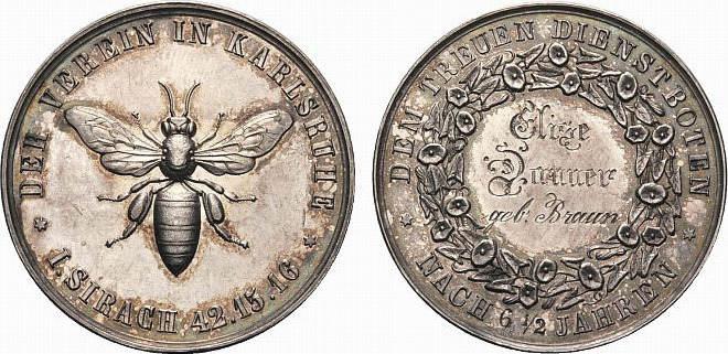 Medaille Baden-Karlsruhe, Stadt Min.Kr., schöne Patina, vorzüglich