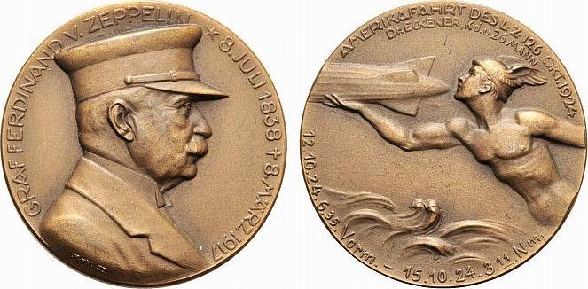 Bronze-Medaille 1924 Luftfahrt und Raumfahrt vorzüglich