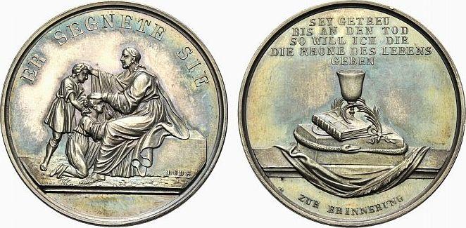 Medaille um 1803 Medaillen von Dan.Fried. Loos und seines Ateliers Zur Konfirmation In Etui, schöne Patina, fast Stempelglanz