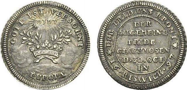 Medaille 1697 Württemberg Eberhard Ludwig 1693-1733. Schöne Patina, selten, vorzüglich