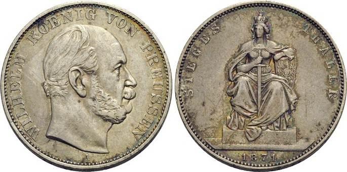 Siegestaler 1871 A Brandenburg-Preussen Wilhelm I. 1861-1888. sehr schön - vorzüglich