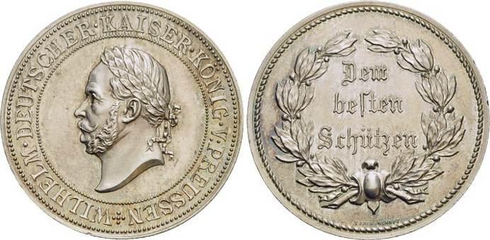 Medaille 1861-1888 Brandenburg-Preussen Wilhelm I. 1861-1888. Feine Patina, selten, vorzüglich - Stempelglanz