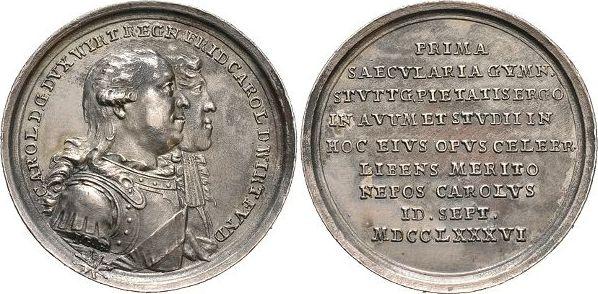 AR-Medaille 1786 Württemberg Karl Eugen 1744-1793. Feine Patina, selten, vorzüglich +