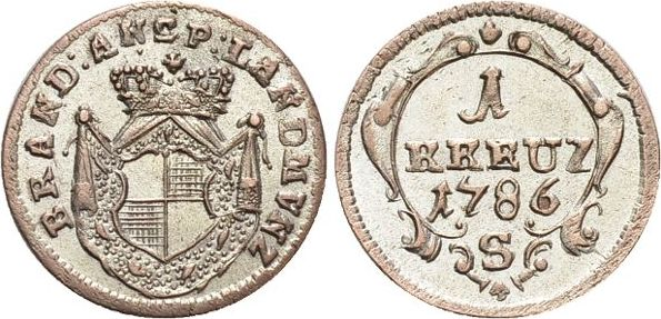 Kreuzer 1786 S Brandenburg-Ansbach Alexander 1757-1791. vorzüglich +