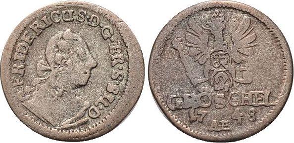 2 Gröschel 1 1748 Brandenburg-Preussen Friedrich II. 1740-1786, Münzstätte Breslau. sehr schön +