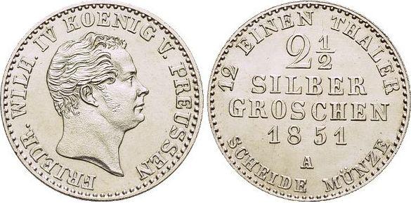 2 1/2 Silbergroschen 1851 A Brandenburg-Preussen Friedrich Wilhelm IV. 1840-1861. fast Stempelglanz
