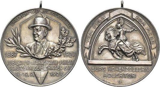 Medaille 1927 Hohenzollern-Hechingen Mit Original-Oese, mattiert, vorzüglich - Stempelglanz