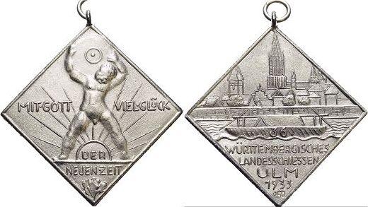 Medaille 1933 Ulm-Stadt Mit angeprägter Oese und Tragering, min.Rf., selten, vorzüglich