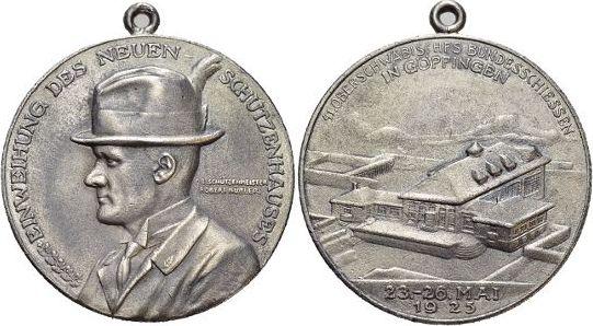 Medaille 1925 Württemberg-Göppingen, Stadt Mit Trageoese, min.Sf., sehr schön