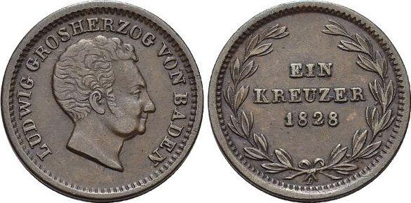 CU-Kreuzer 1828 Baden-Durlach Ludwig 1818-1830. Patina, fast vorzüglich