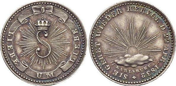 AR-Abschlag vom Gedenkkreuzer 1832 Baden-Durlach Leopold 1830-1852. Kl.Rf., schöne Patina, vorzüglich