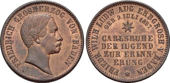 CU-Gedenkkreuzer 1857 Baden-Durlach Friedrich I. 1852-1907. fast Stempelglanz