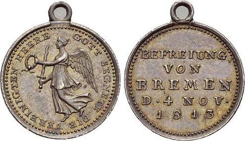 1813 Krieg und Frieden Befreiungskriege Mit angeprägter Oese, selten, vorzüglich