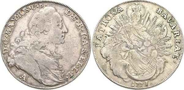 Madonnentaler 1771 A Bayern Maximilian III. Joseph 1745-1777. Rs.l.just, sehr schön