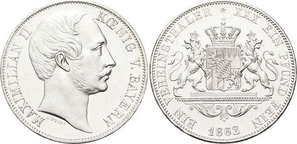 Vereinstaler 1862 Bayern Maximilian II. Joseph 1848-1864. Kl.Kr., vorzüglich +