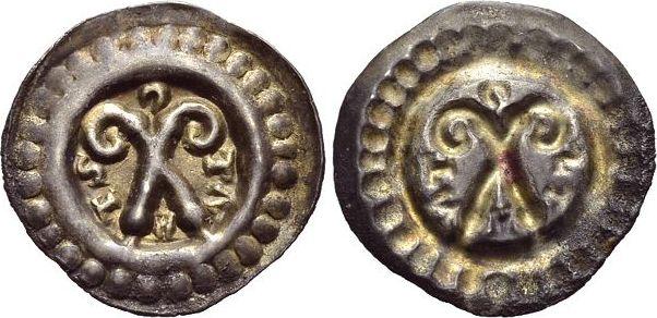 Brakteat 1248-1274 Konstanz-Bistum Eberhard II. von Waldburg-Thann 1248-1274. Schöne Patina, selten, vorzüglich