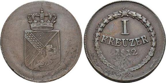 CU-Kreuzer 1812 Baden-Durlach Carl Ludwig Friedrich 1811-1818. Schw.Prst., sehr schön